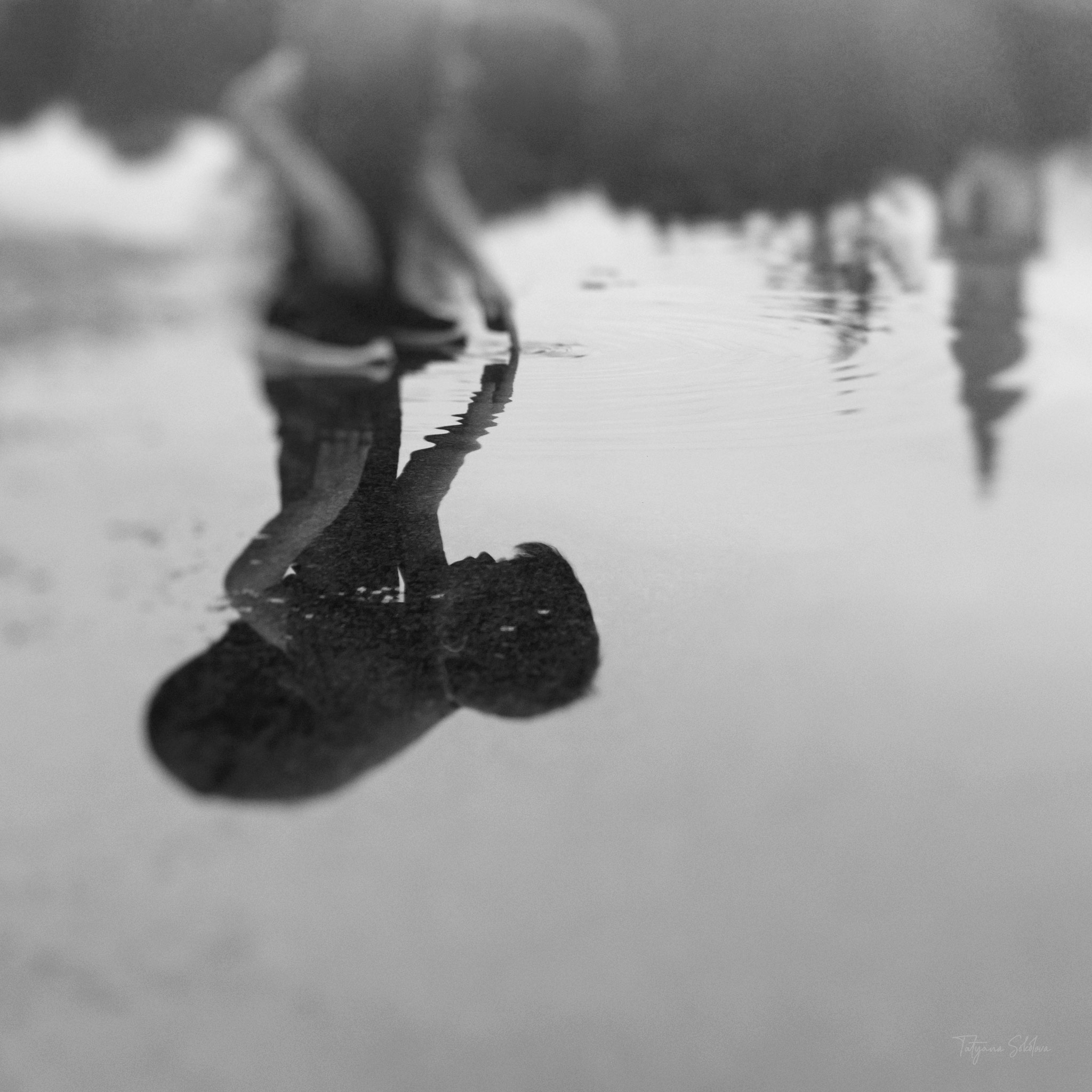Houston Child Photography; Houston Fine Art Photography; Black and White Child Portrait; Puddle Reflection; Freelensing
