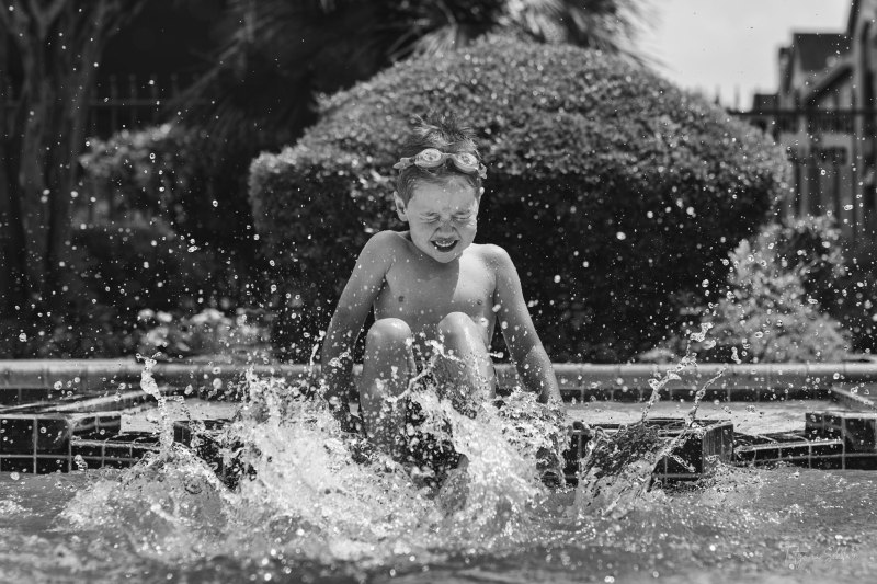 Houston Lifestyle Child and Family Photography; Pool Photo Sessions in Houston; Black and White Child Photography